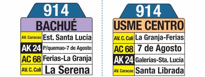 914 Bachué-Usme Centro, letrero tabla bus del SITP