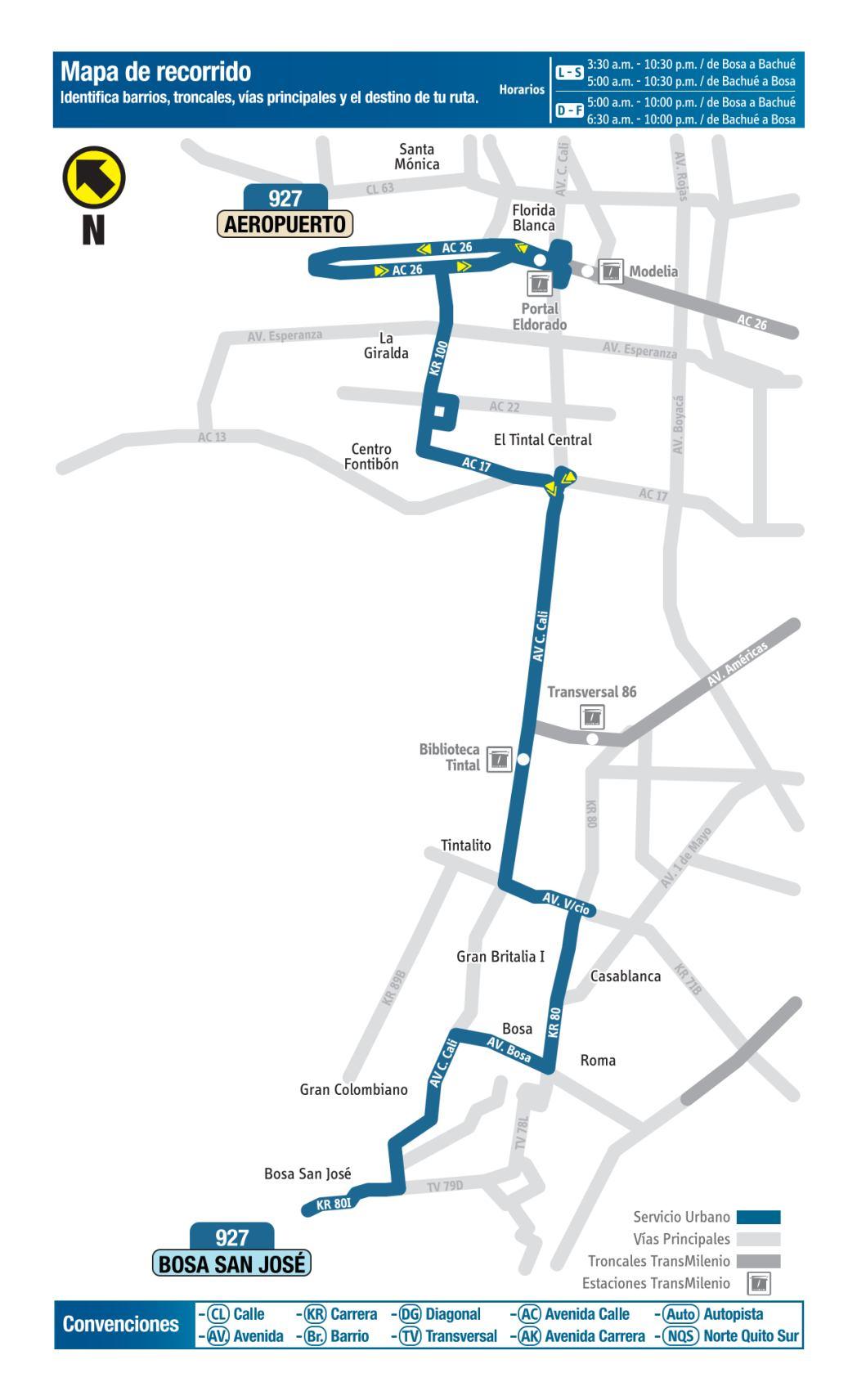 927 Bosa San José - Aeropuerto, mapa bus urbano Bogotá