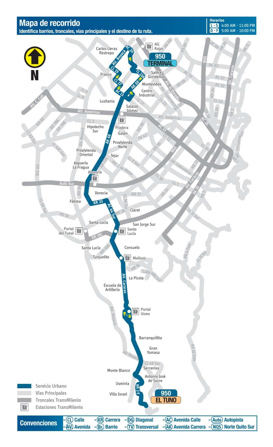 950 El Tuno - Terminal, mapa bus urbano Bogotá