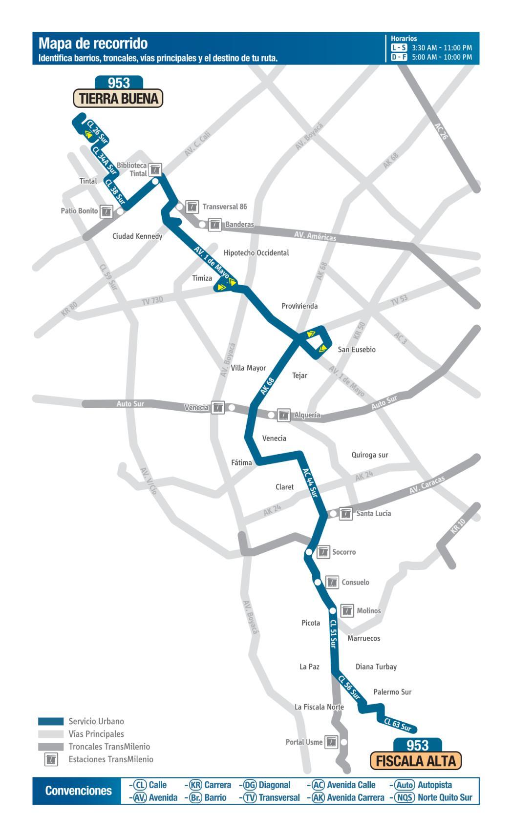 953 Tierra Buena - Fiscala Alta, mapa bus urbano Bogotá