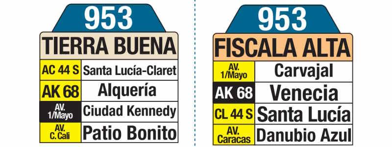 953 Tierra Buena - Fiscala Alta, letrero tabla bus del SITP