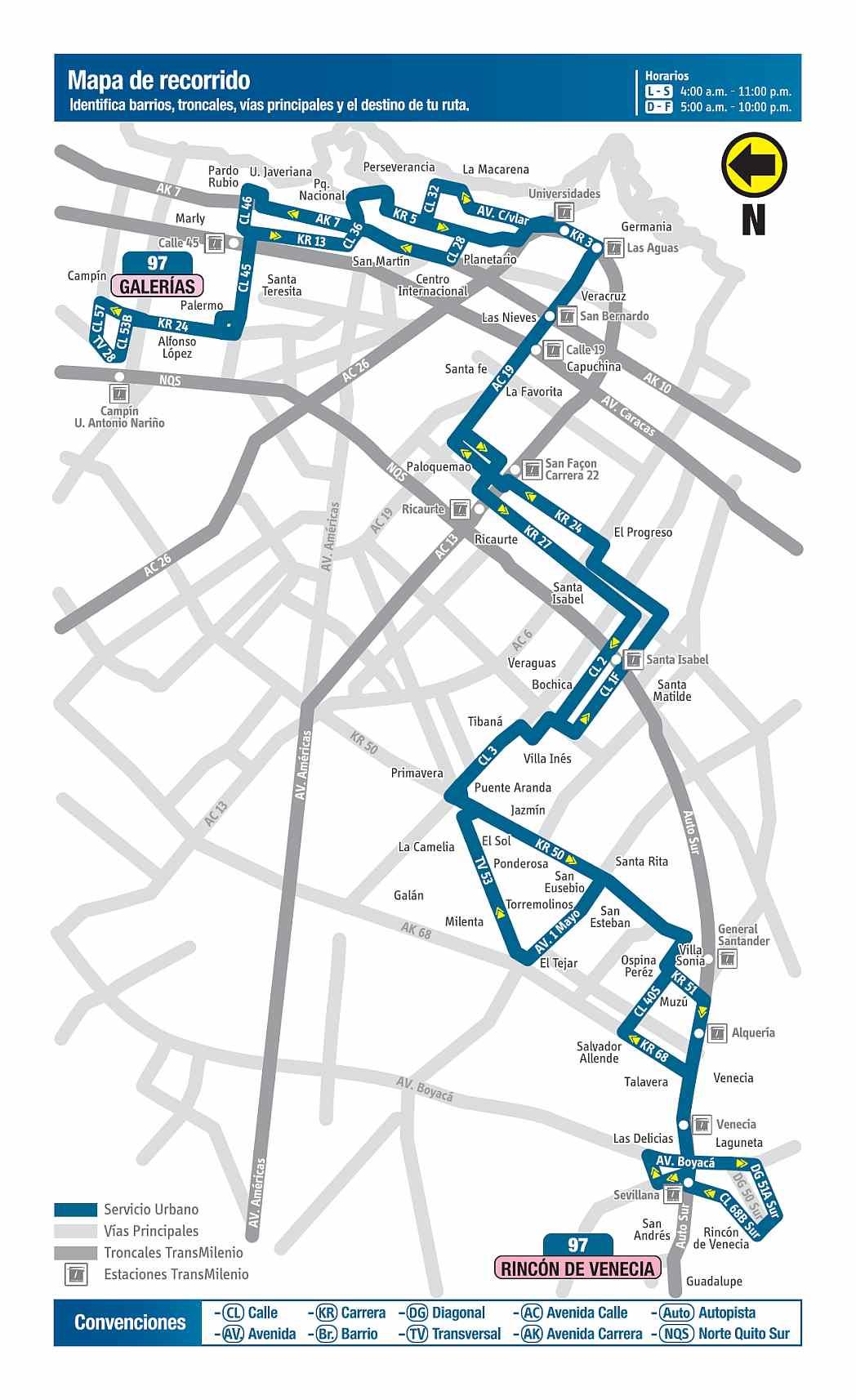 97 Galerías - Rincón de Venecia, ruta bus urbano Bogotá