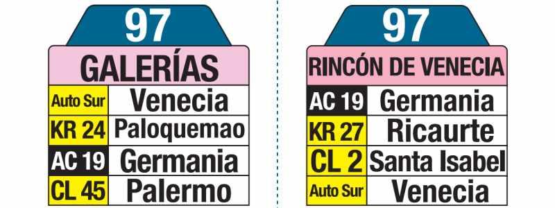 97 Galerías - Rincón de Venecia, letreros bus urbano Bogotá