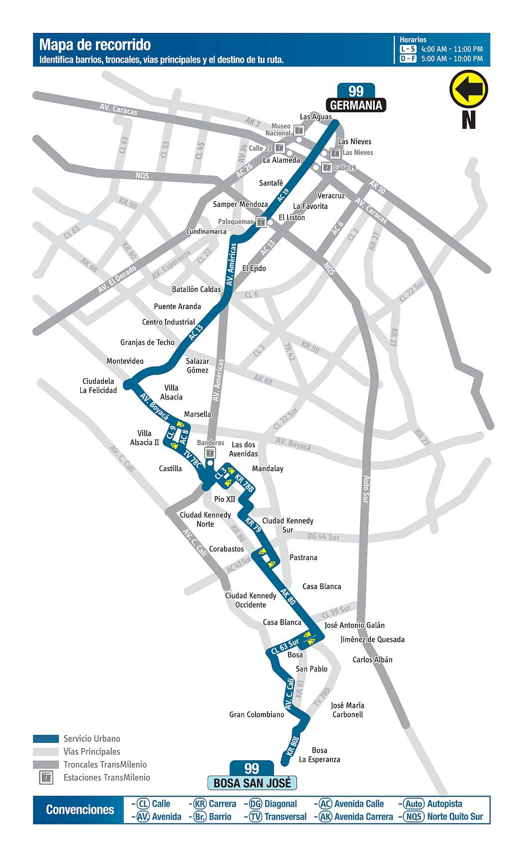 99 Bosa San José - Germania, ruta bus urbano Bogotá