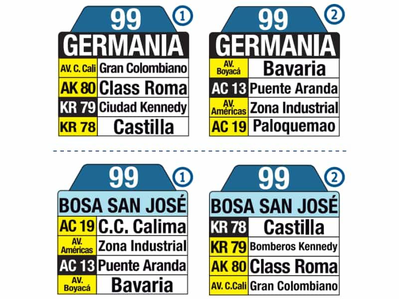 99 Bosa San José - Germania, letreros bus urbano Bogotá