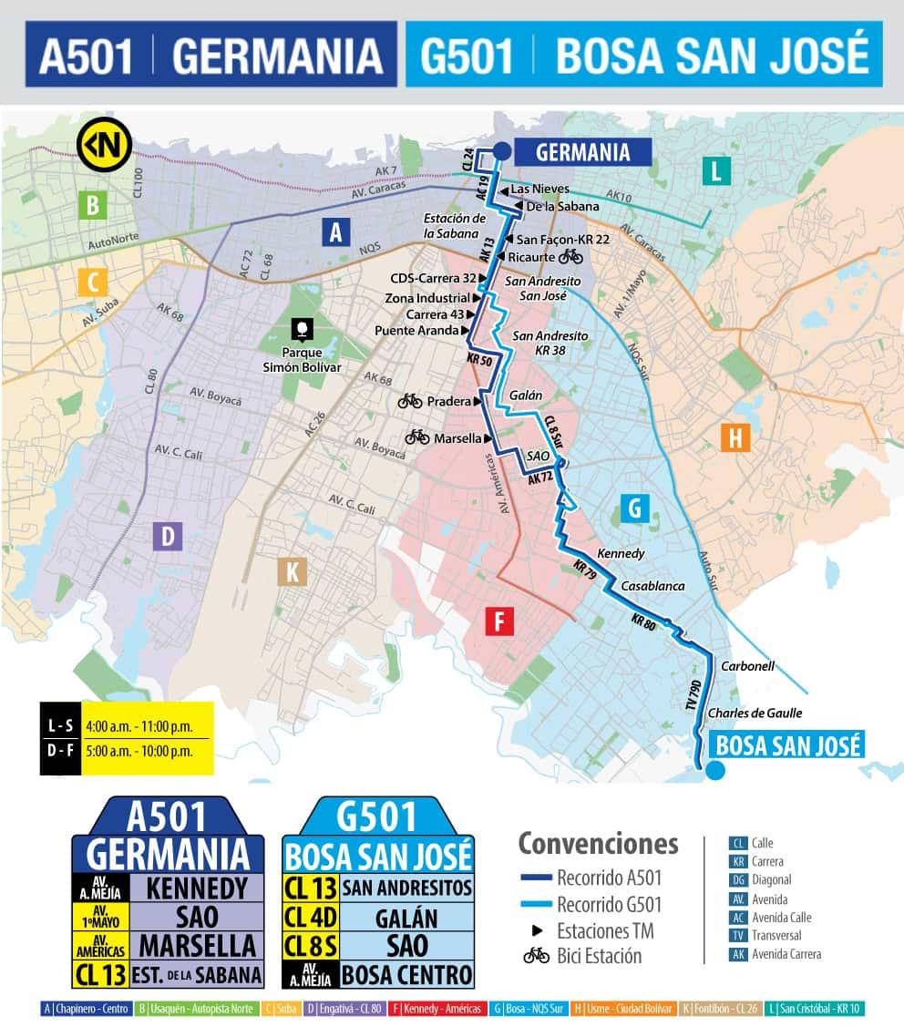 Mapa del recorrido de la ruta urbana A501-G501 Germania - Bosa San José