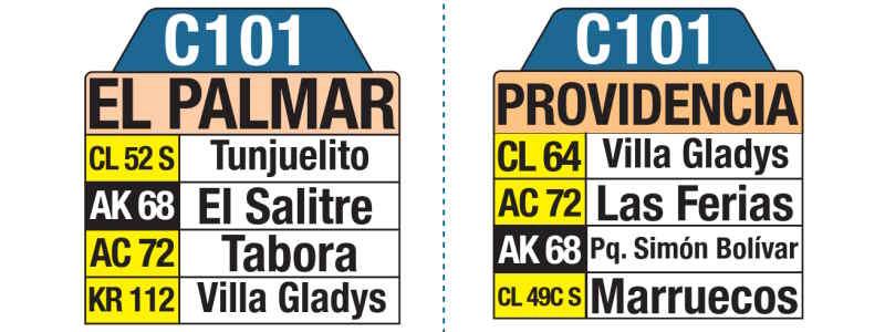 C101 Providencia - El Palmar, letrero tabla bus del SITP