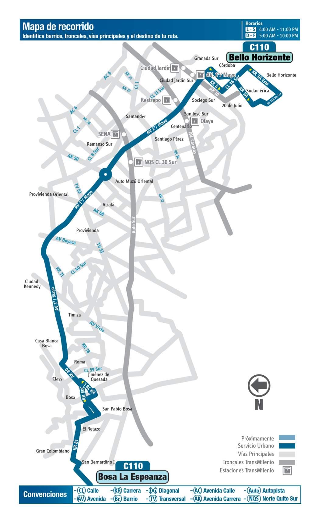 C110 Bello Horizonte - Bosa La Esperanza, mapa bus urbano Bogotá