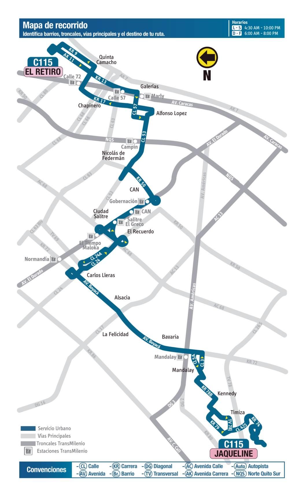 C115 Jaqueline - El Retiro, mapa bus urbano Bogotá