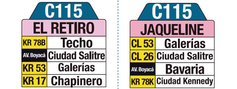 C115 Jaqueline - El Retiro, letrero tabla bus del SITP