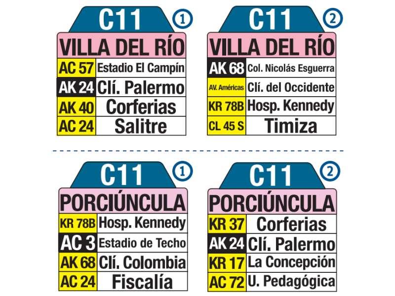 C11 Villa del Río - Porciúncula, letrero tabla bus del SITP