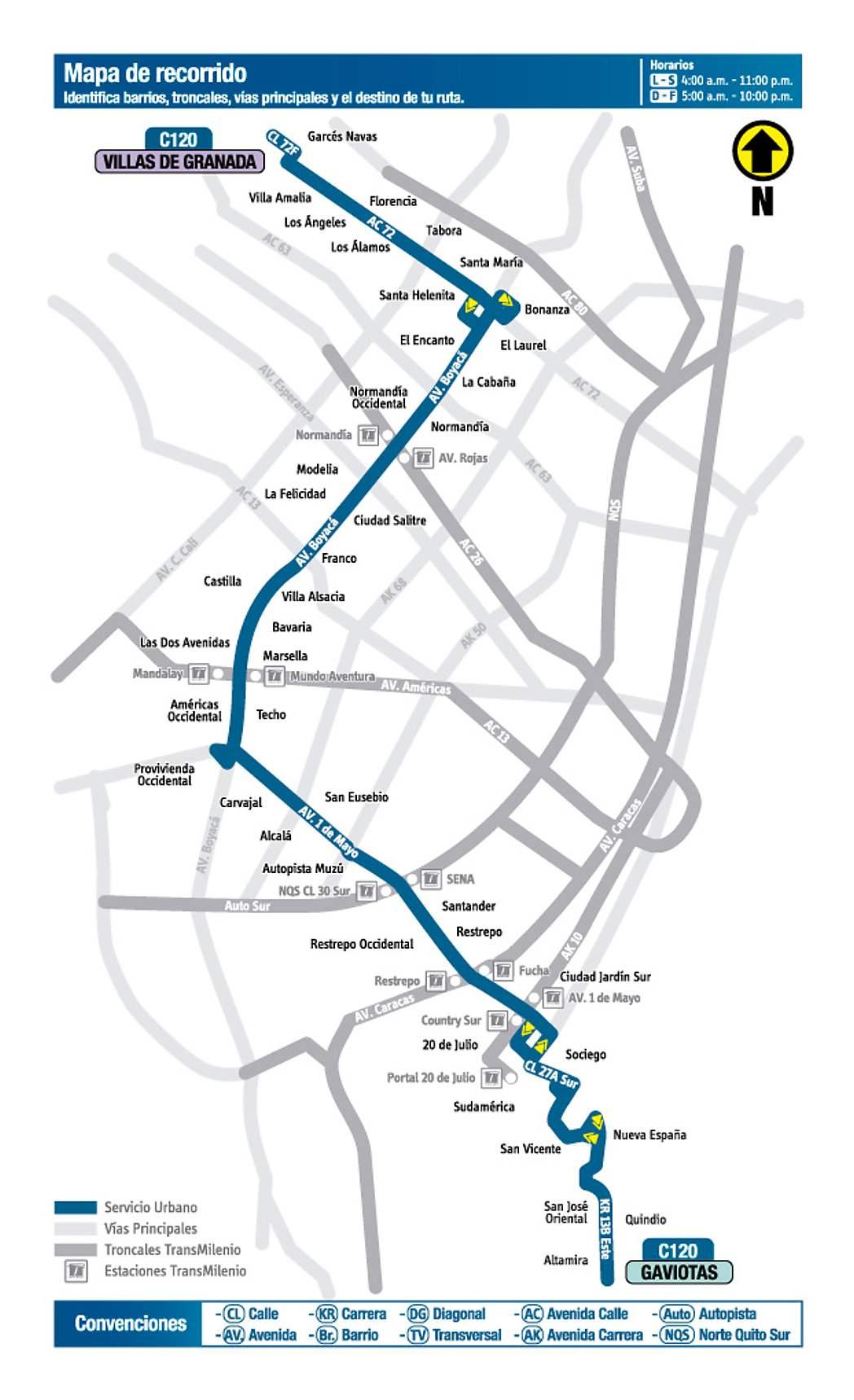 C120 Villas de Granada - Gaviotas, mapa bus urbano Bogotá
