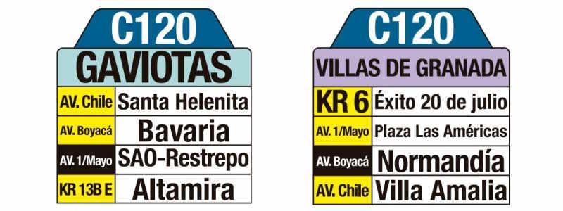 C120 Villas de Granada - Gaviotas, letrero tabla bus del SITP