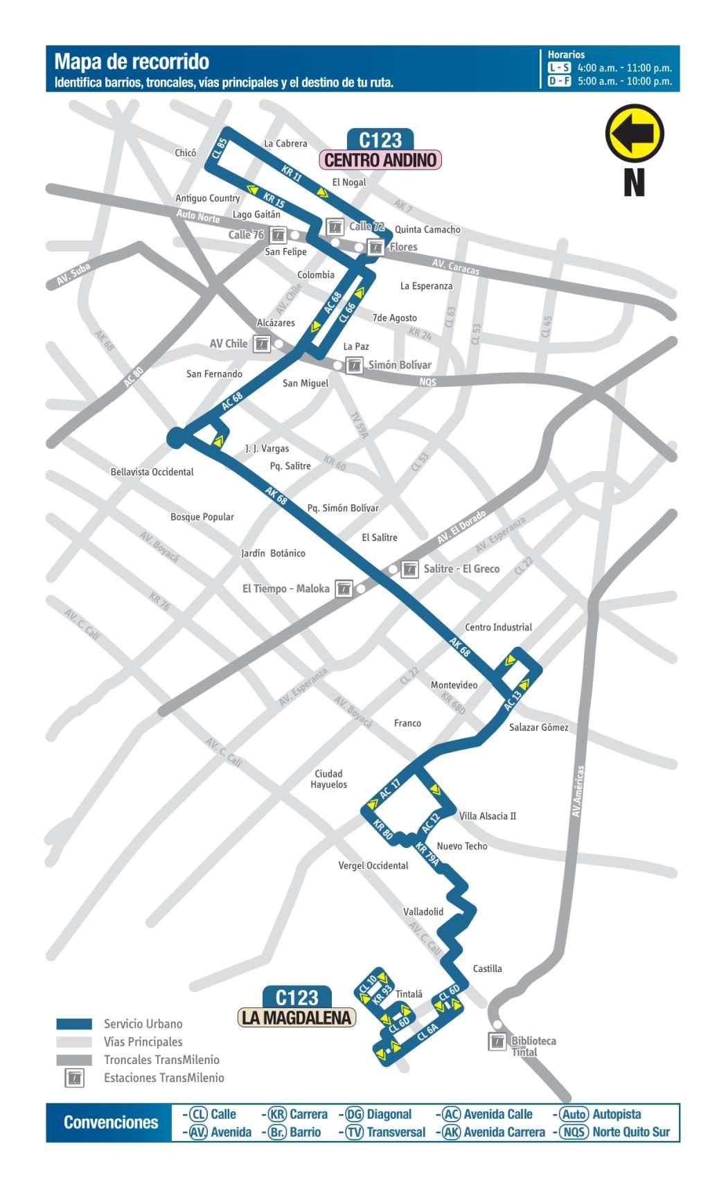 C123 La Magdalena - Centro Andino, mapa bus urbano Bogotá