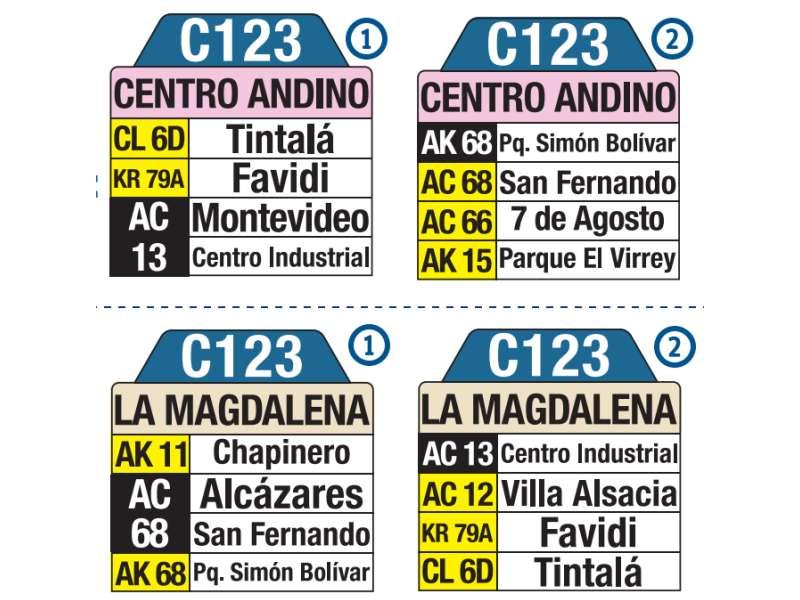 C123 La Magdalena - Centro Andino, letrero tabla bus del SITP