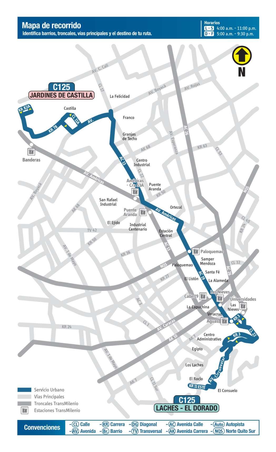 C125 Jardines de Castilla - Laches - El Dorado, mapa bus urbano Bogotá