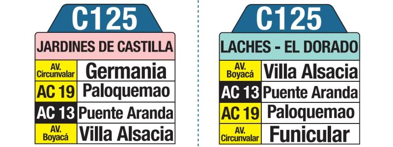 C125 Jardines de Castilla - Laches - El Dorado, letrero tabla bus del SITP