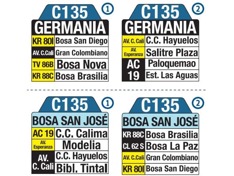 C135 Bosa San José - Germania, letrero tabla bus del SITP