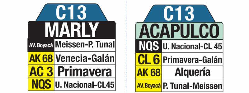 C13 Acapulco - Marly, letrero tabla bus del SITP