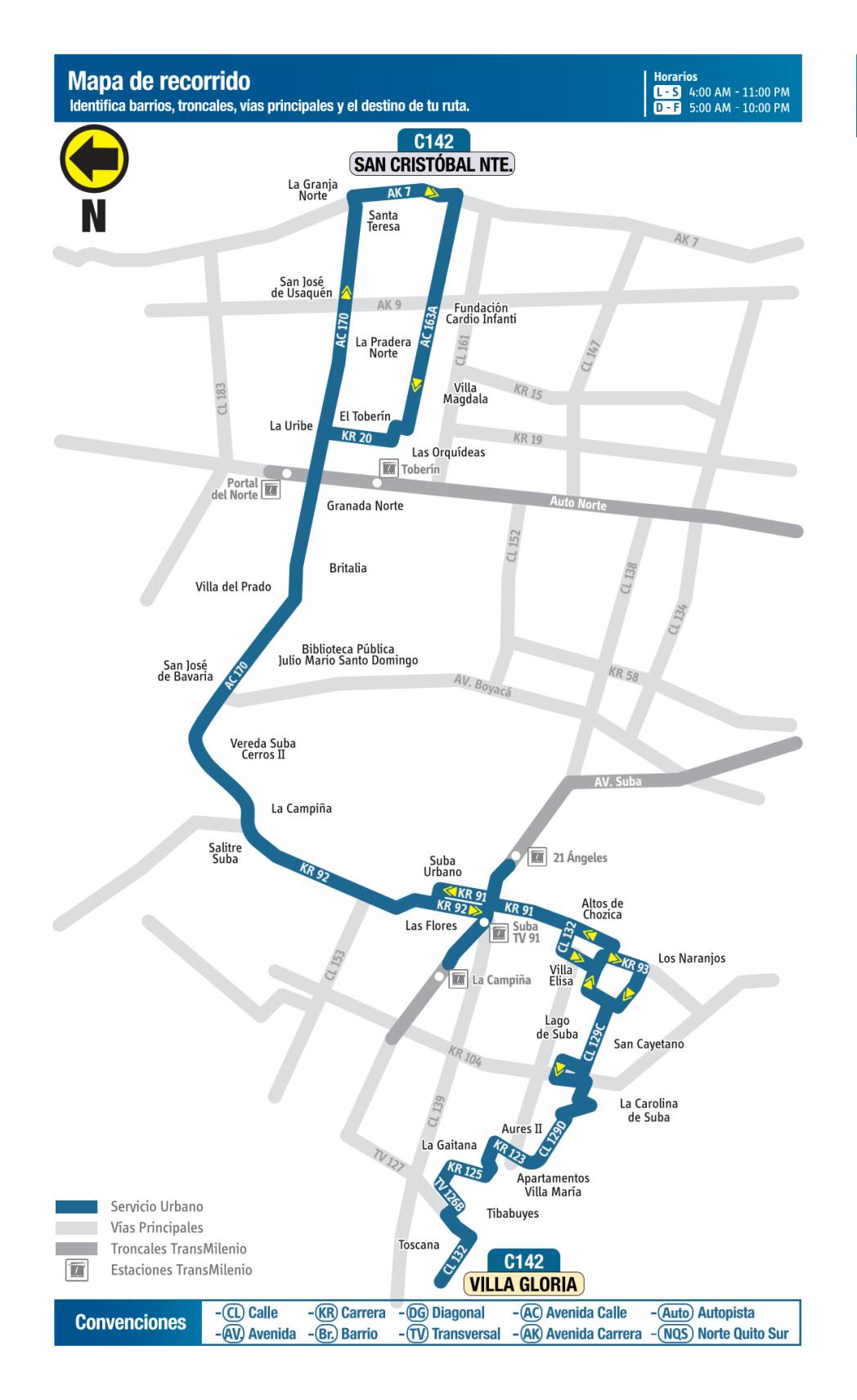 C142 Villa Gloria - San Cristóbal Norte, mapa bus urbano Bogotá