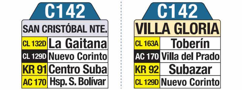 C142 Villa Gloria - San Cristóbal Norte, letrero tabla bus del SITP