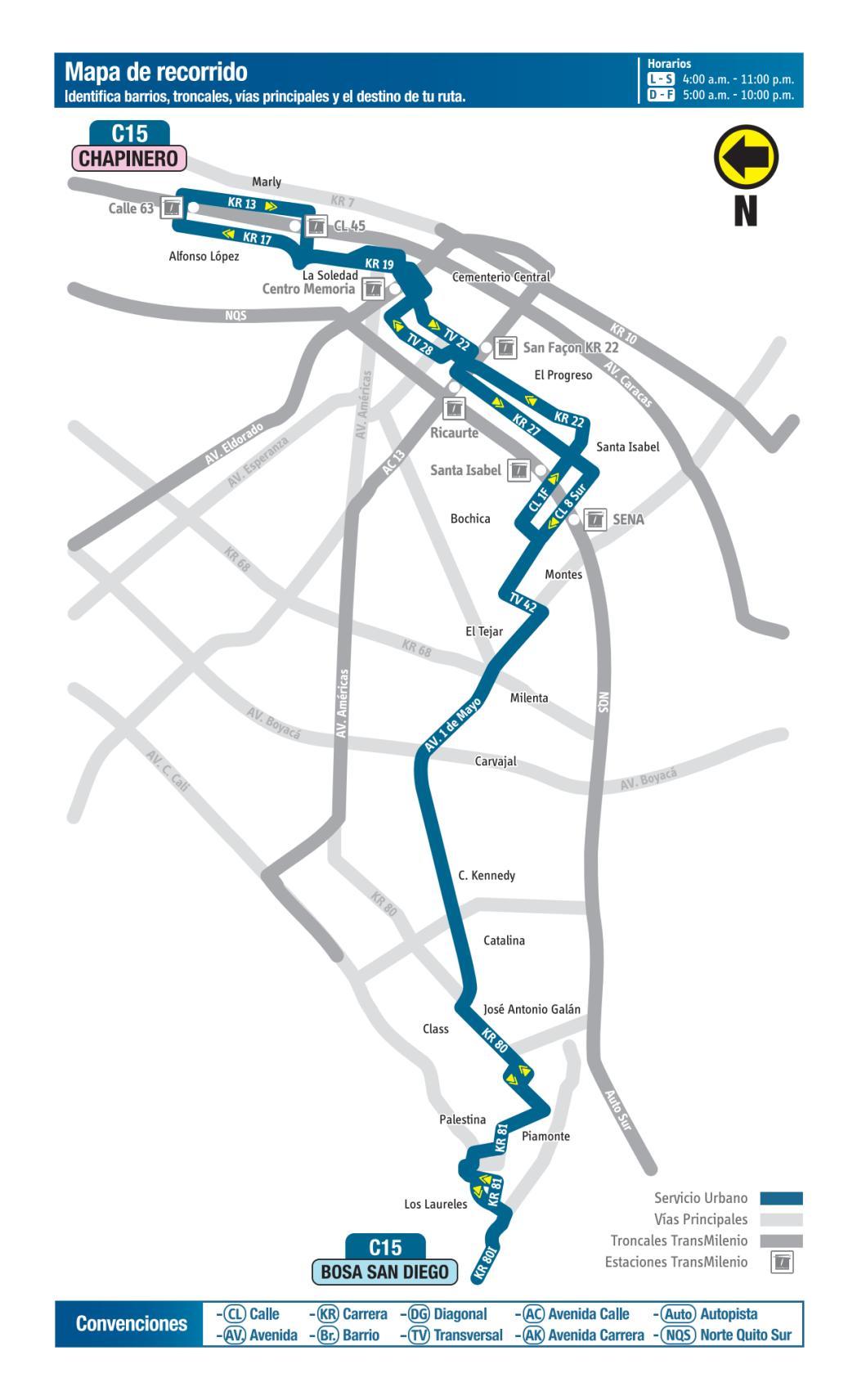 C15 Bosa San Diego - Chapinero, mapa bus urbano Bogotá