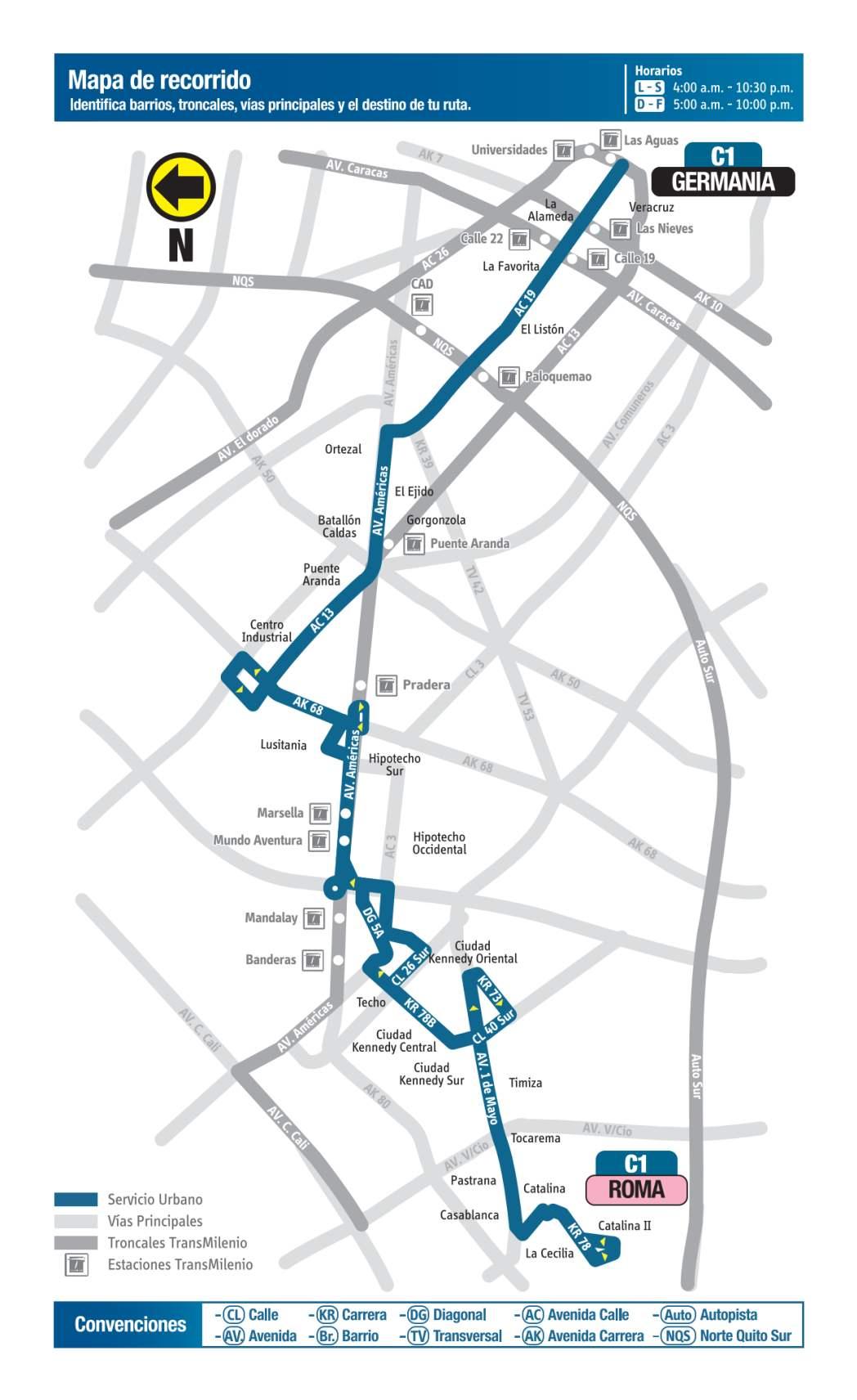 C1 Germania - Roma, mapa bus urbano Bogotá