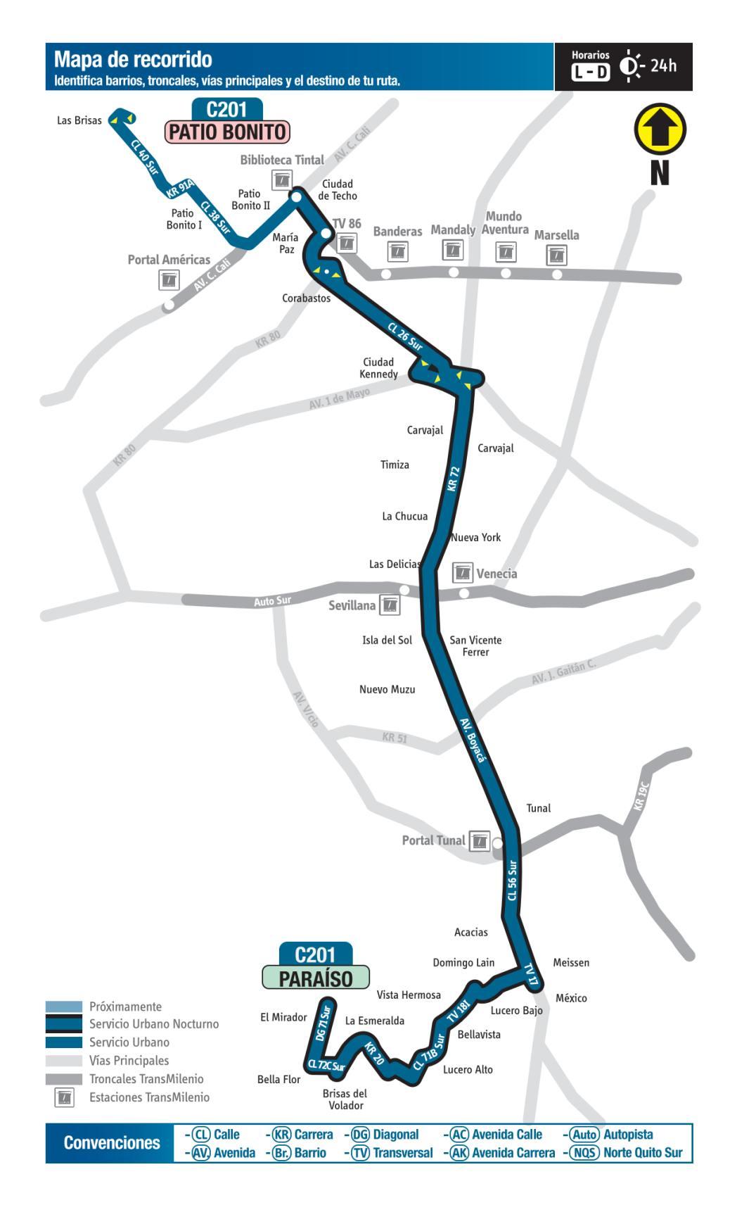 C201 Patio Bonito - Paraíso, mapa bus urbano Bogotá