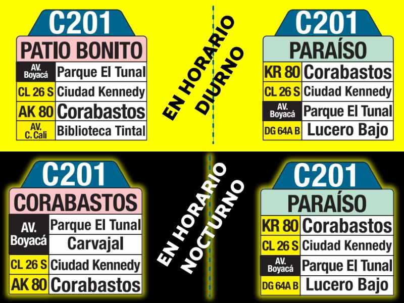 C201 Patio Bonito - Paraíso, letrero tabla bus del SITP
