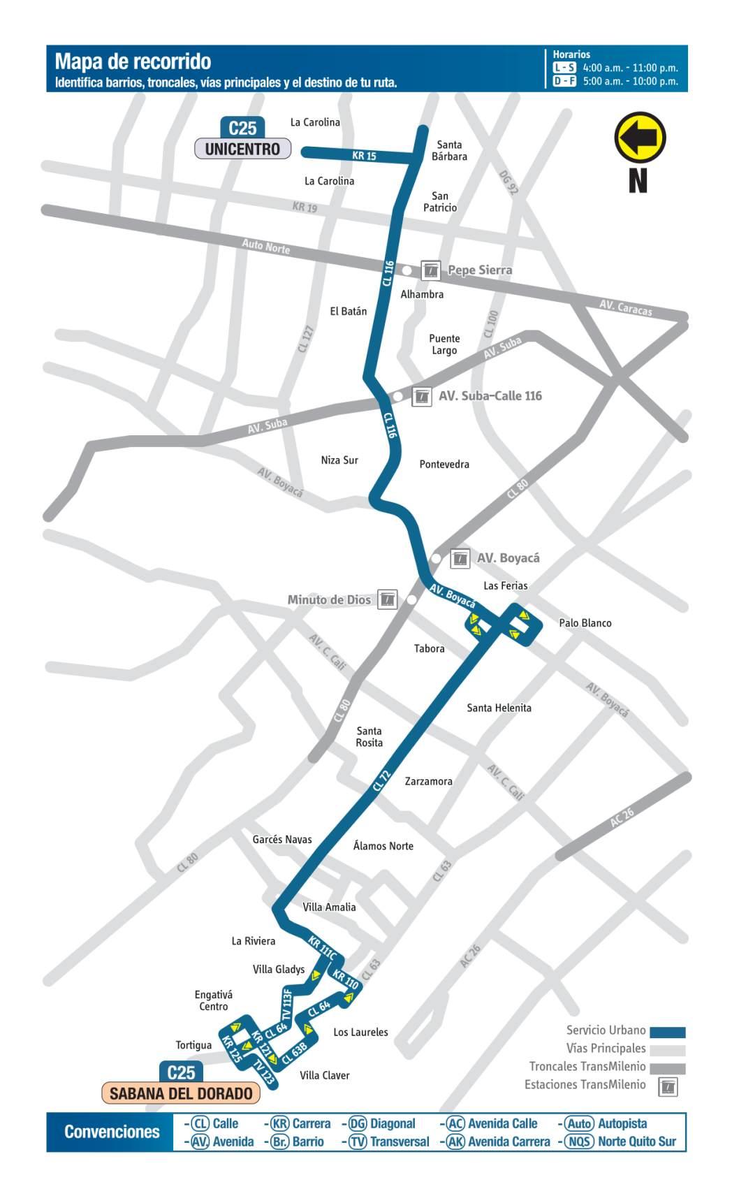 C25 Sabana del Dorado - Unicentro, mapa bus urbano Bogotá