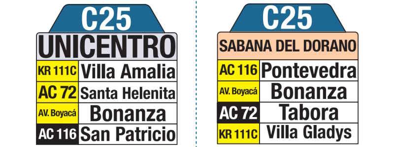 C25 Sabana del Dorado - Unicentro, letrero tabla bus del SITP