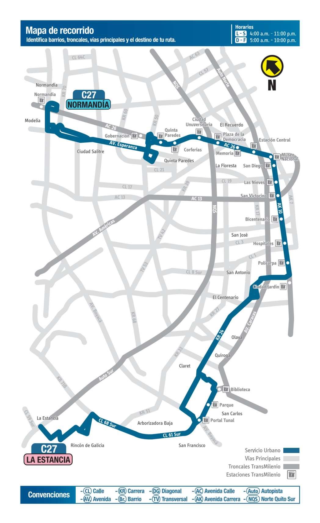 C27 La Estancia - Normandía, mapa bus urbano Bogotá