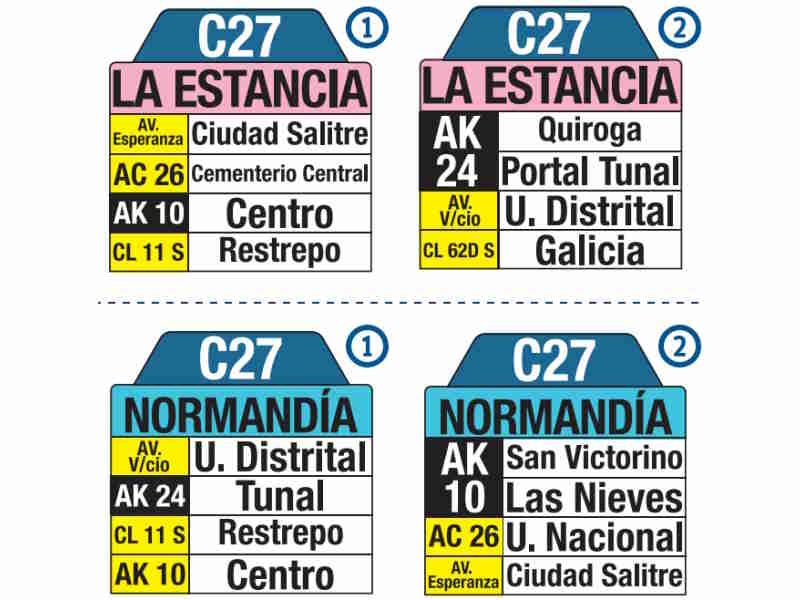 C27 La Estancia - Normandía, letrero tabla bus del SITP