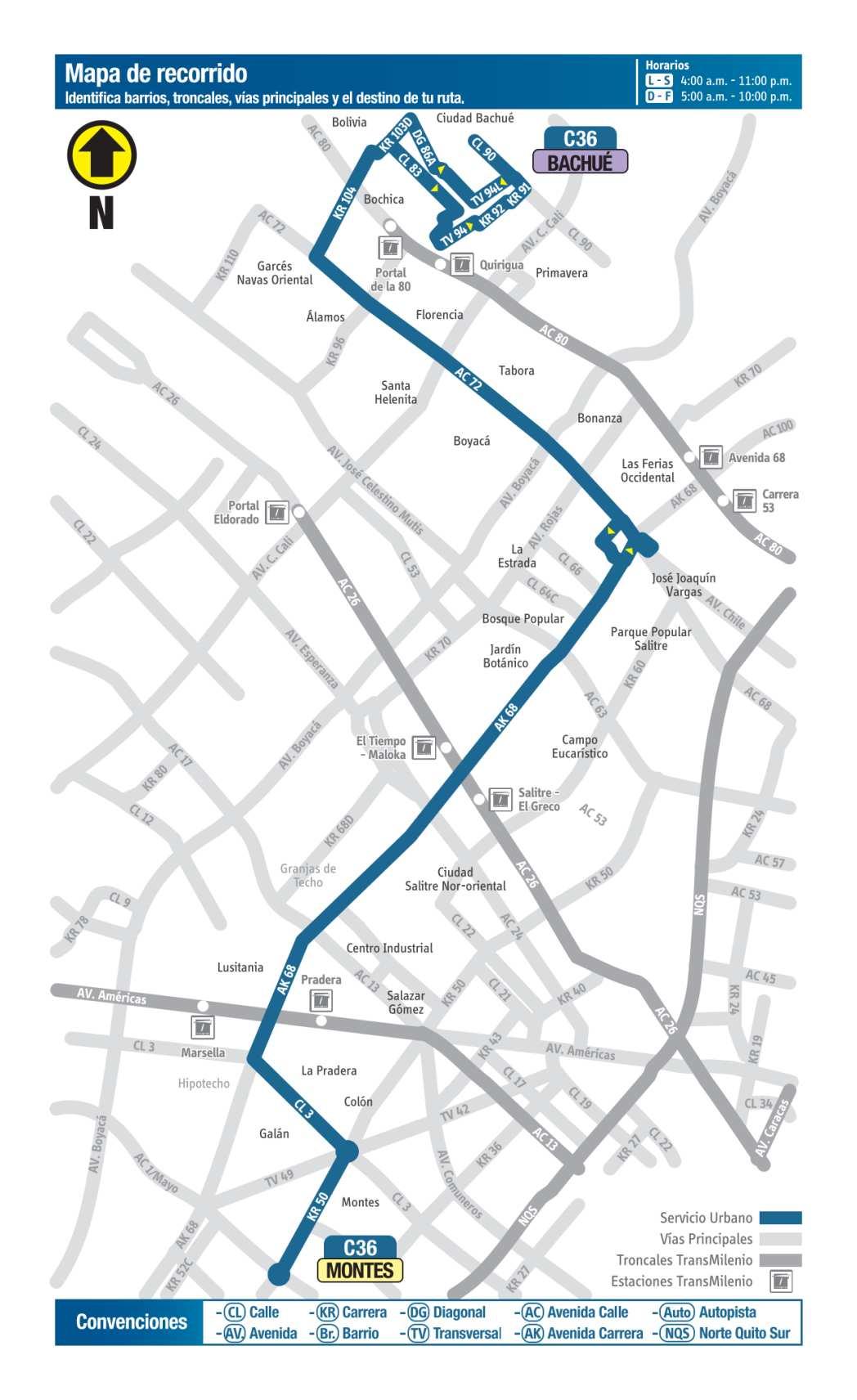 C36 Bachué - Montes, mapa bus urbano Bogotá