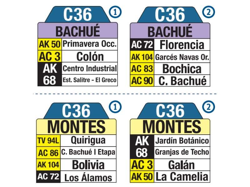 C36 Bachué - Montes, letrero tabla bus del SITP