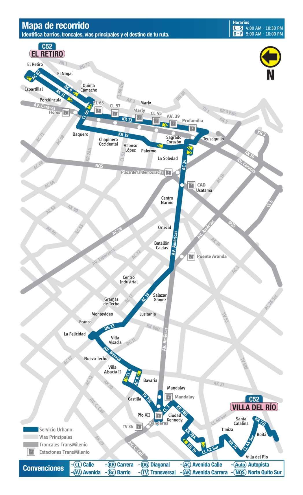 C52 Villa del Río - El Retiro, mapa bus urbano Bogotá
