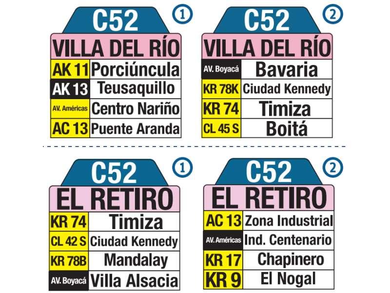 C52 Villa del Río - El Retiro, letrero tabla bus del SITP