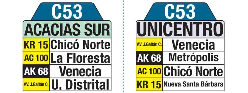 C53 Unicentro - Acacias Sur, letrero tabla bus del SITP