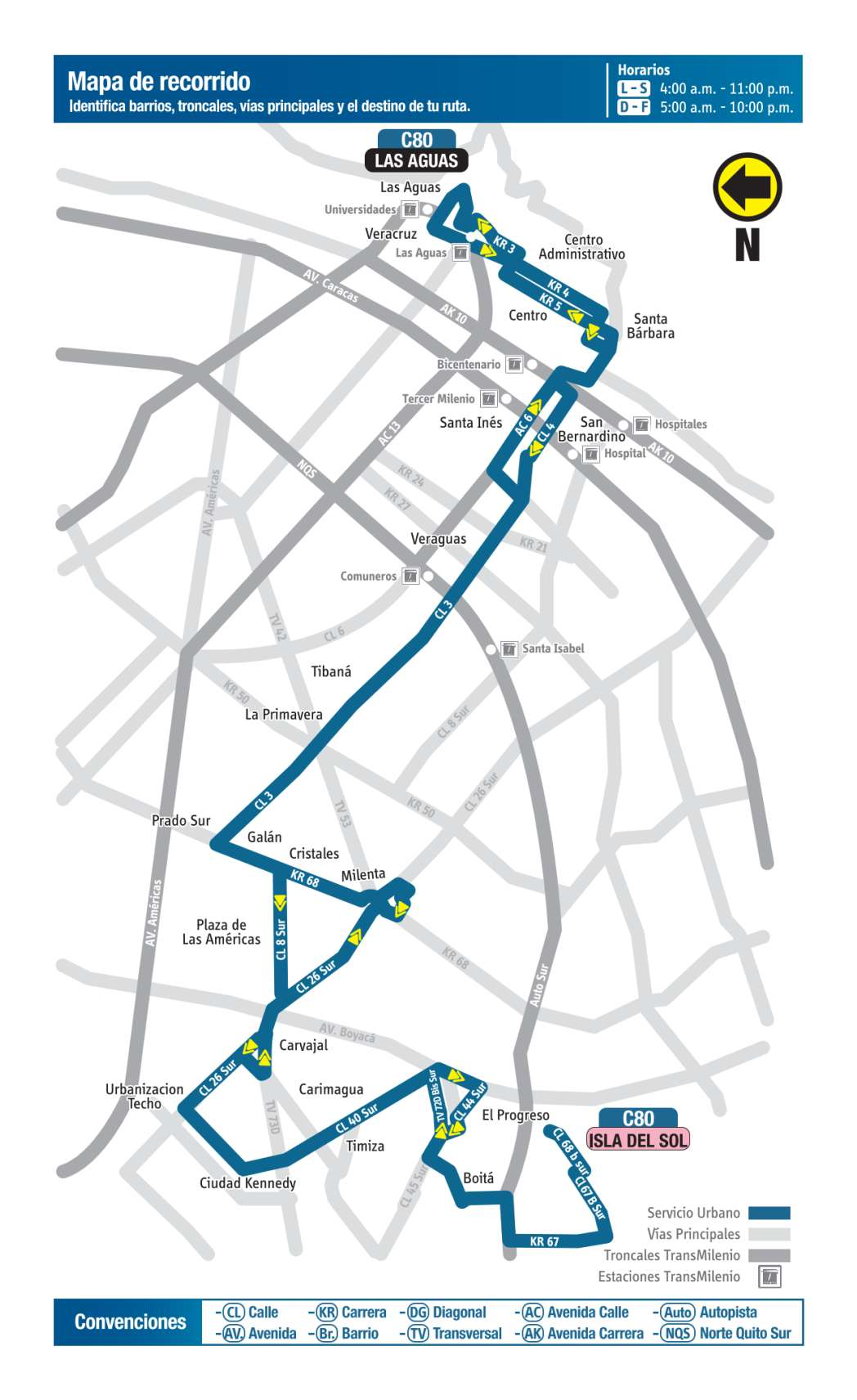 C80 Isla del Sol - Las Aguas, mapa bus urbano Bogotá