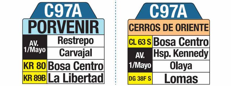 C97A Cerros del Oriente Porvenir, letrero tabla bus del SITP