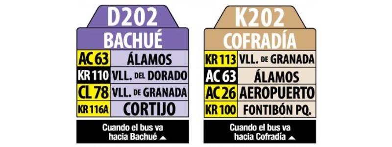 D202-K202 Bachué - Cofradía, letrero tabla bus del SITP