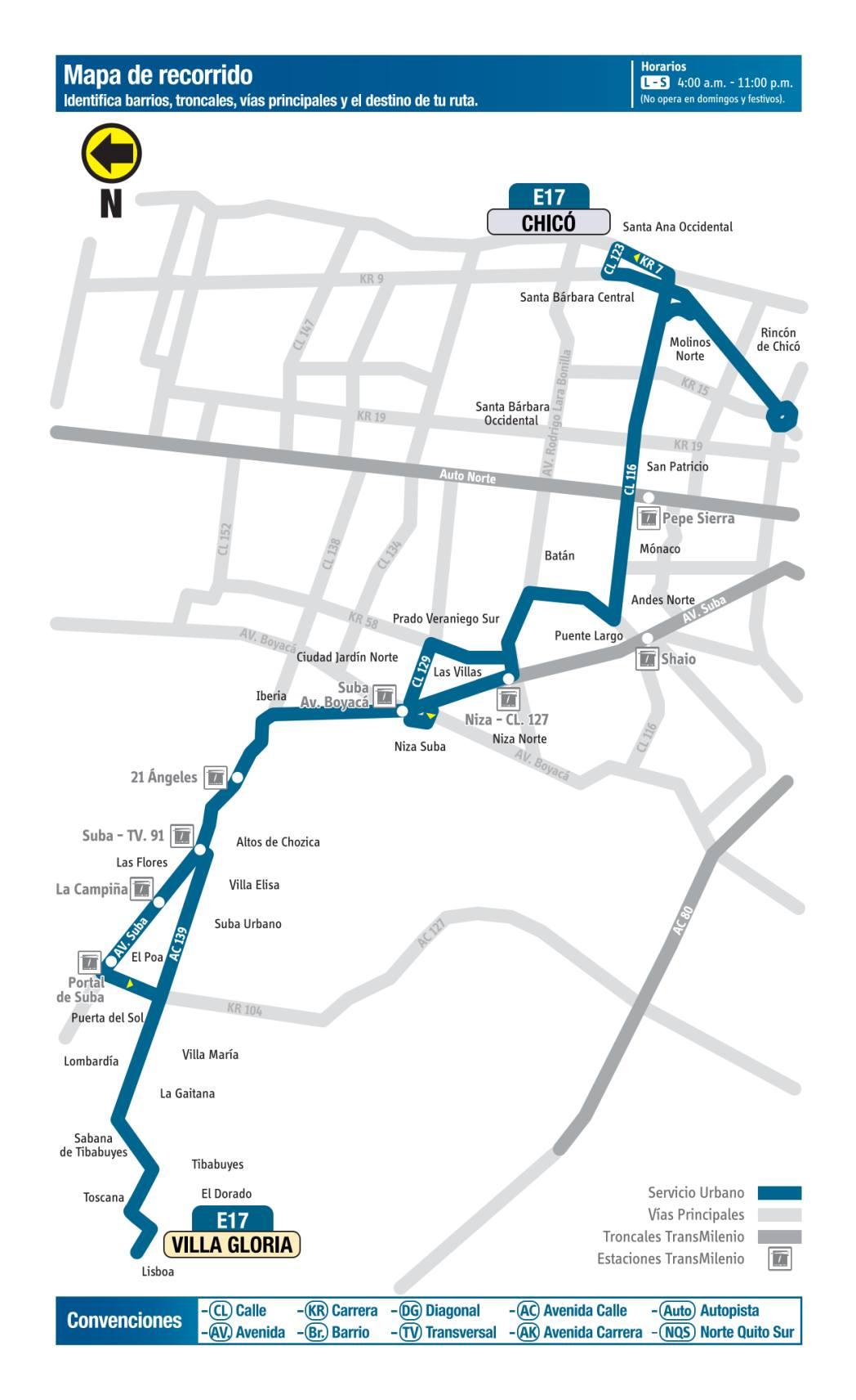 E17 Villa Gloria - Chicó, mapa bus urbano Bogotá
