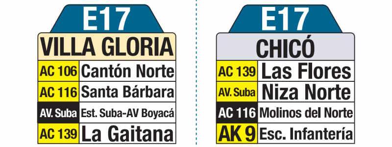 E17 Villa Gloria - Chicó, letrero tabla bus del SITP