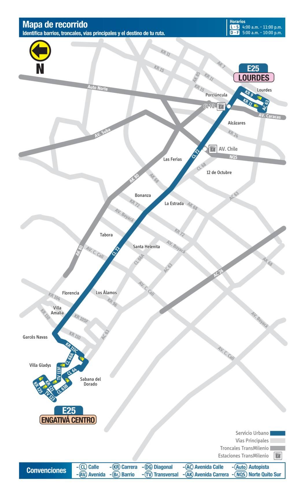 E25 Lourdes - Engativá Centro, mapa bus urbano Bogotá