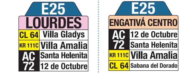 E25 Lourdes - Engativá Centro, letrero tabla bus del SITP