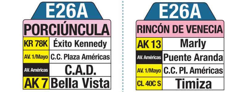 E26A Rincón de Venecia - Porciúncula, letrero tabla bus del SITP