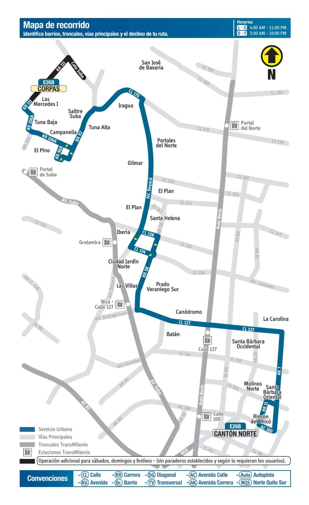 E26B Corpas - Cantón Norte, mapa bus urbano Bogotá