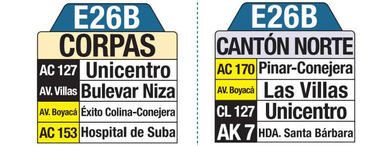 E26B Corpas - Cantón Norte, letrero tabla bus del SITP