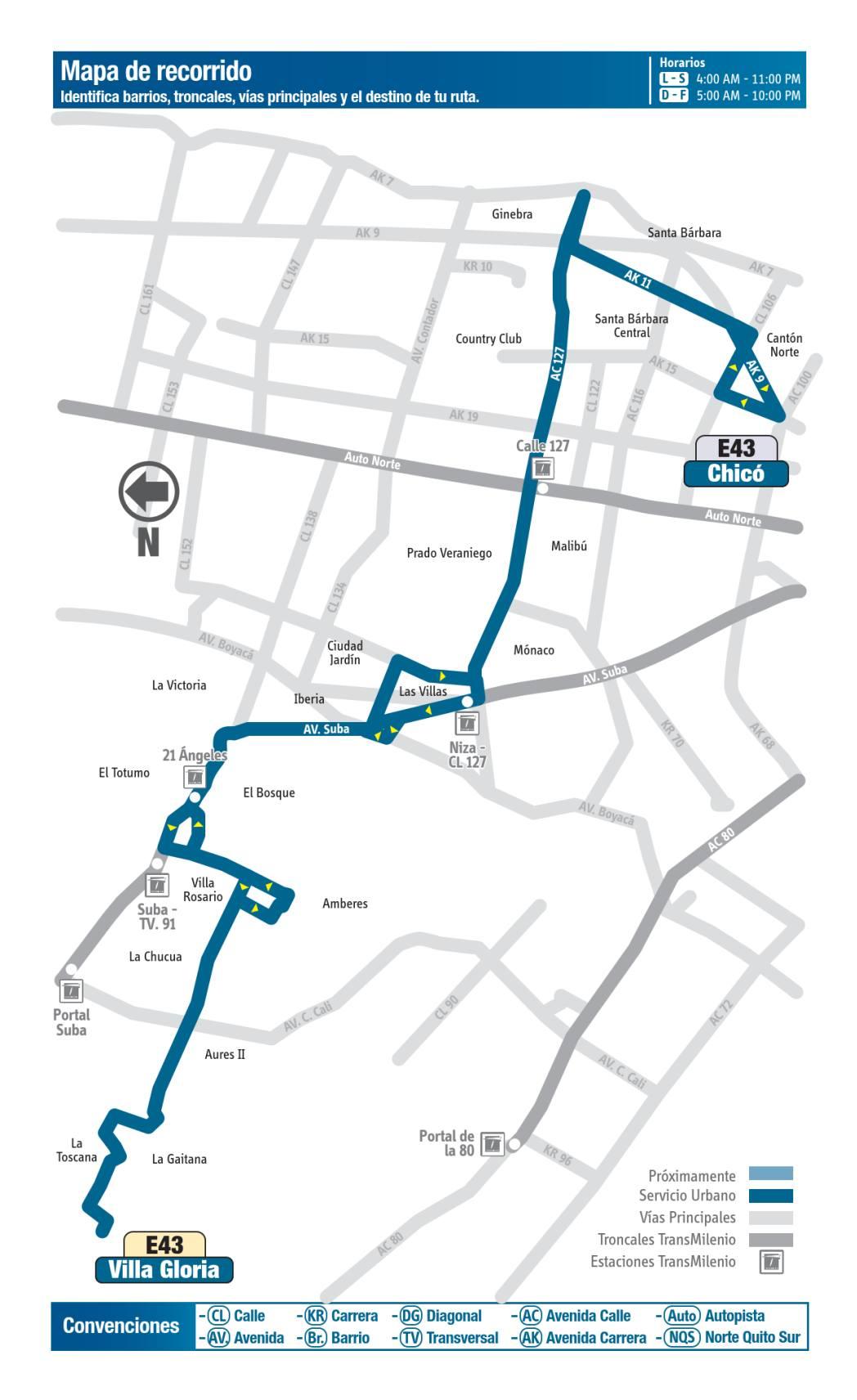 E43 Villa Gloria - Chicó, mapa bus urbano Bogotá