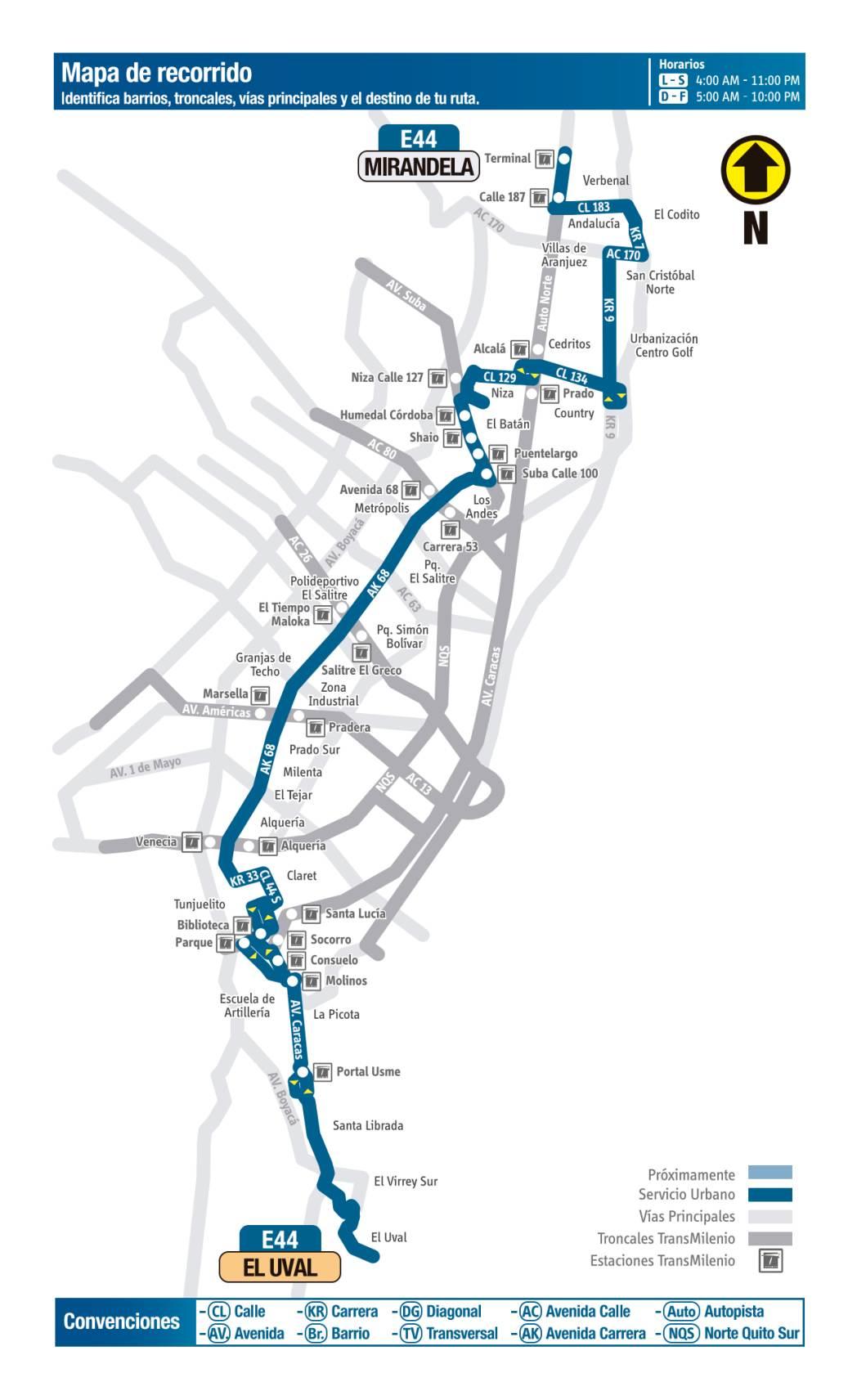 E44 Mirandela - El Uval, mapa bus urbano Bogotá